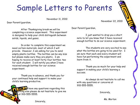 Parent Letter Beginning School Year Classroom Management Plan