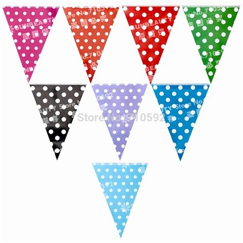Bunting Flag Bendera Dekorasi Pesta aliexpress buy new design 2pcs polka dots flag banner bunting garland decorations