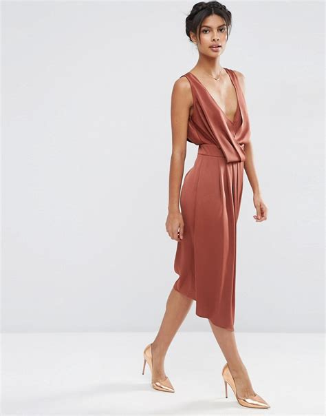 asos drape dress mychicpicks asos drape front midi dress with cross back