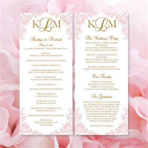 printable quot kaitlyn quot wedding program template blush pink
