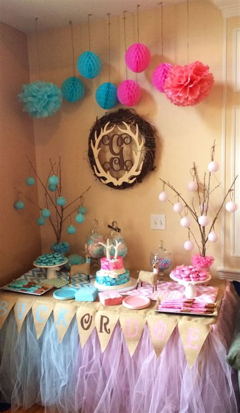 Gender Reveal Decoration Ideas by Table For Our Buck Or Doe Gender Reveal Buck Or Doe Gender Reveal