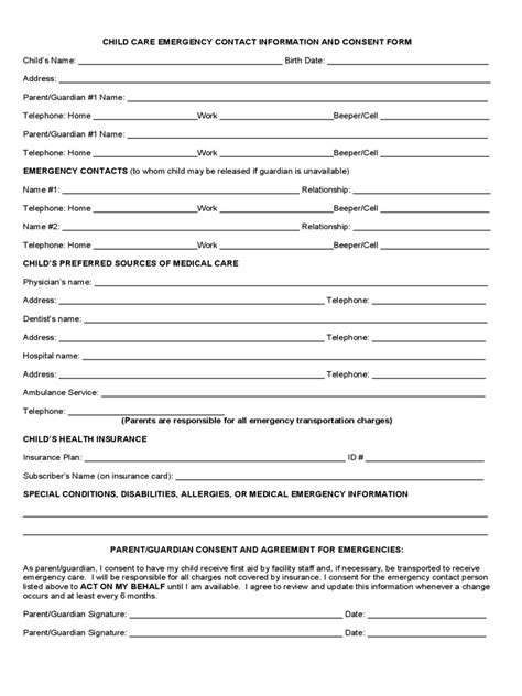 child information form template child care emergency contact form 2 free templates in