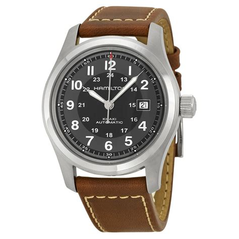 Hamilton Khaki Automatic hamilton khaki field automatic black brown leather