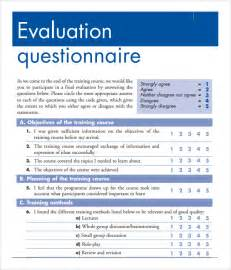 Evaluation Questionnaire Template by Evaluation Form 15 Free Documents In