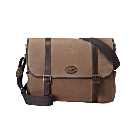 Fossil Perry East West Messenger Bag by Fossil Estate Waxed Canvas East West Messenger Bag In