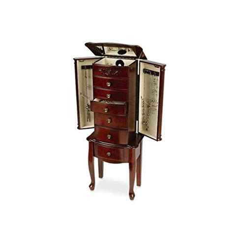 morgan jewelry armoire quot morgan quot dark cherry solid wood 6 drawer jewelry armoire