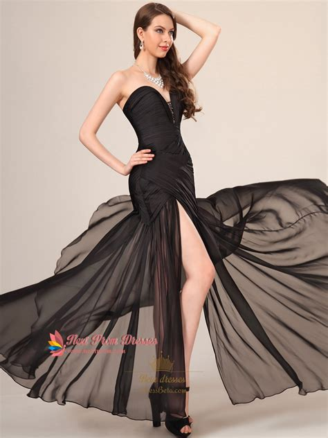 dress with black sides black sweetheart neckline prom dress with slits on
