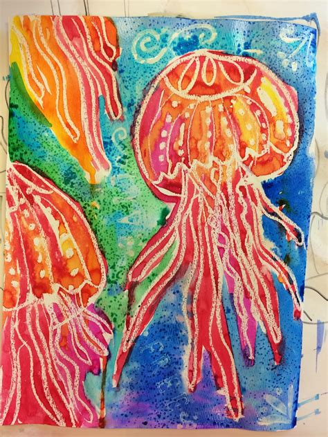 Salt And Wax Resist Watercolour smart class april showers and jellyfish watercolor resist