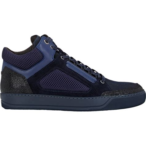 blue lanvin sneakers lanvin s mixed material sneakers in blue for lyst