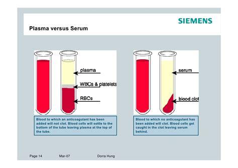 Serum The serum plasma difference