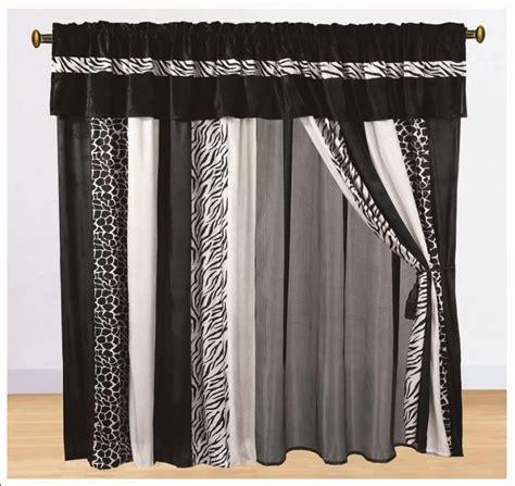 black print curtains 8pc curtain set faux fur zebra animal print classic