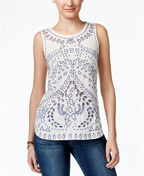 Lucky Atasan Dress Blouse Kemeja Hem Top lucky brand embroidered cutout tank top in white lyst