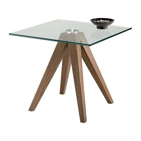 nord lombok square glass l table walnut wood effect frame