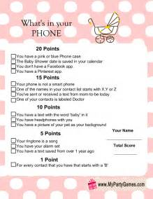 what s in your phone baby shower game