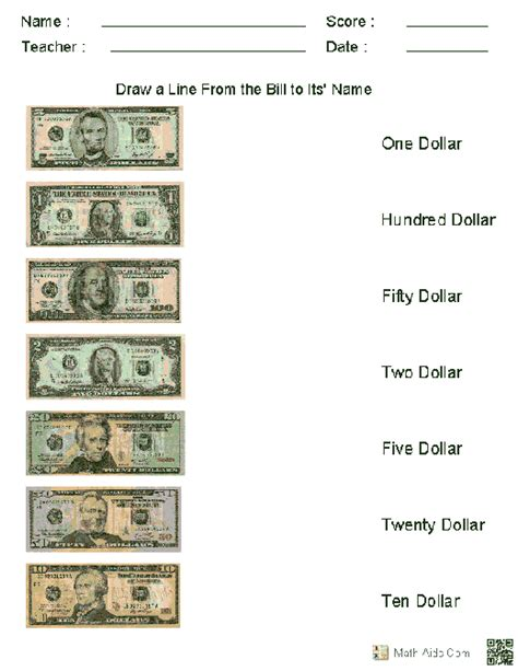 printable currency graphs matching us currency to their names worksheets