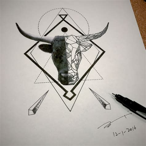 geometric tattoo taurus geometric bull head tattoo design by esther c because