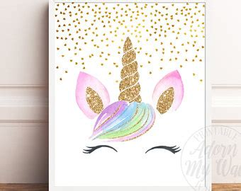 unicorn print printable wall art decor gold glitter unicorn unicorn head etsy