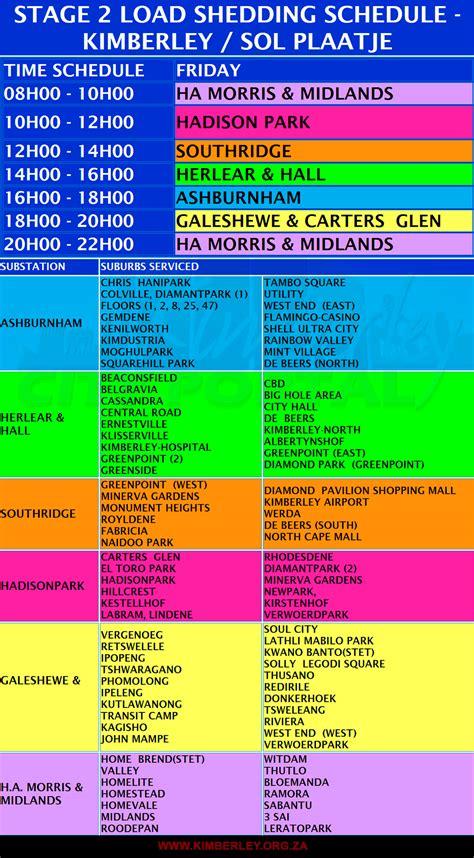 Eskom Load Shedding Times by Weekend Loadshedding Outlook 20 21 22 02 2015 Kimberley City