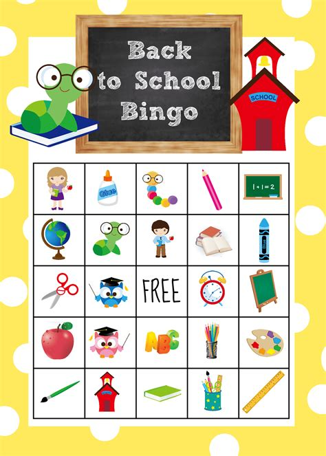 printable games for school back to school bingo game