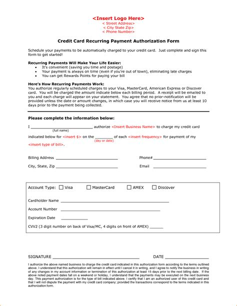 credit card authorization form questionnaire template