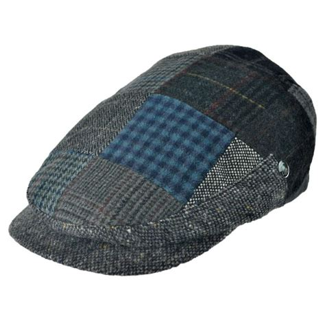 Patchwork Cap - city sport caps patchwork donegal tweed wool cap flat
