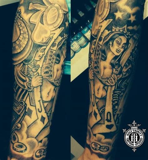fantastic gambling piece tattooed in the studio by greg