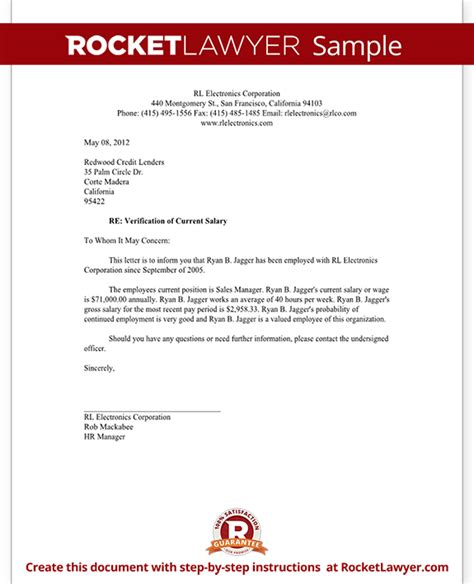 Mortgage Income Verification Letter Salary Verification Letter Template With Sle