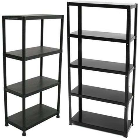 Shelf Plastic by 4 5 Tier Plastic Shelving Unit Storage Garage Racking