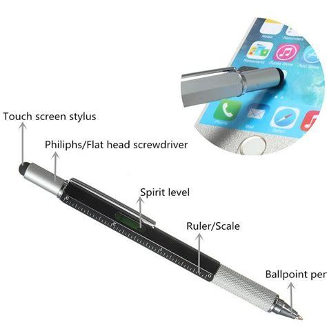 pena multifungsi metal stylus penggaris level obeng