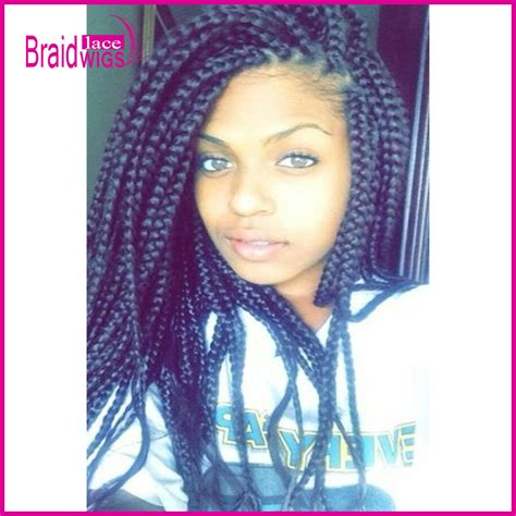 what isnthe length for box braids long length natural black braided synthetic lace front wig