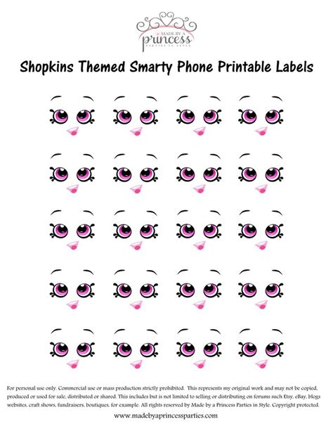 printable shopkins eyes shopkins inspired smarty phone free printable made by a