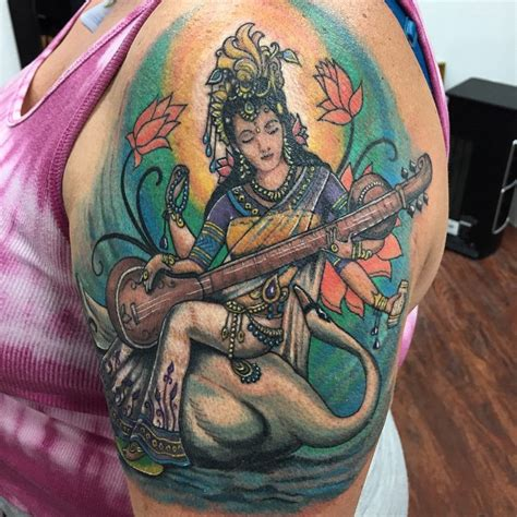 saraswati tattoo designs 70 sacred hindu ideas designs packed with color