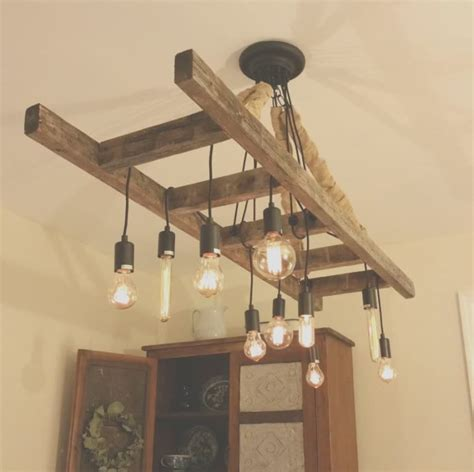 Wooden Farm Table Vintage Farmhouse Ladder Chandelier Id Lights