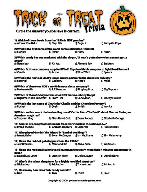 halloween themed quiz questions halloween printables