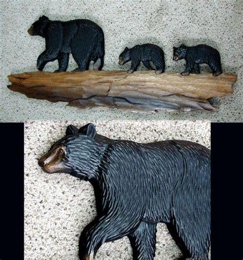 bear themed home decor bear themed decor wood carved intarsia black bear family