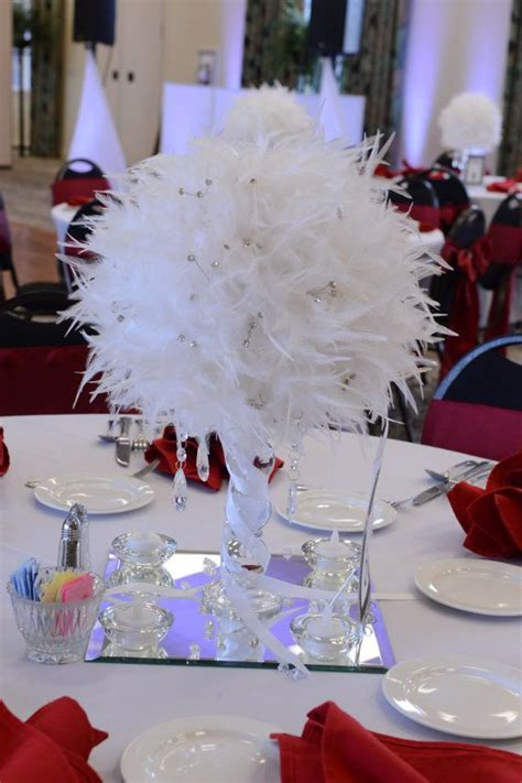 wedding centerpiece white feather by