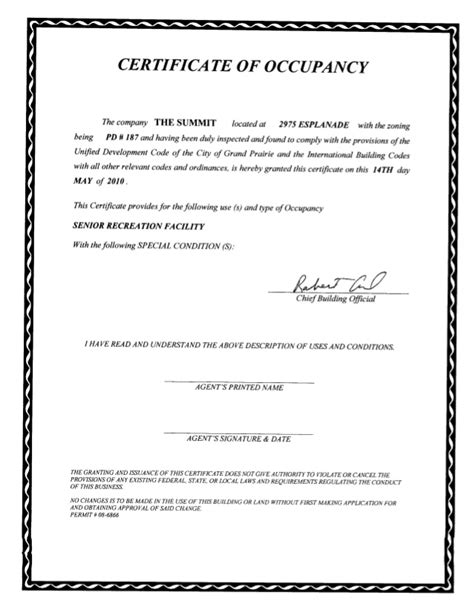 certificate of occupancy template certificate of occupancy