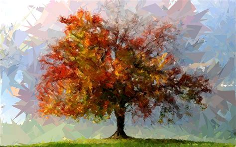 wallpaper trees abstract painting tree art abstract fotosketcher shattered autumn f