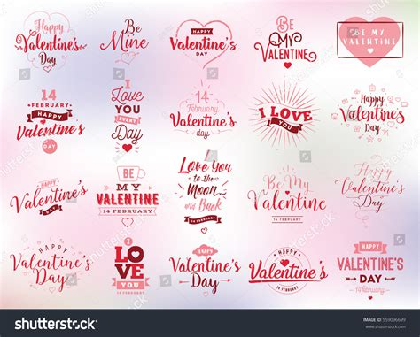 typography gifts happy valentines day typography set vector stock vector 559096699