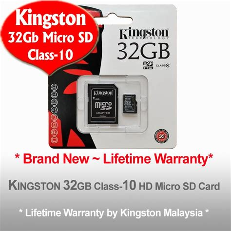 Micro Sd Card 32gb Malaysia kingston micro sd 32gb class 10 hd lifetime warra lelong