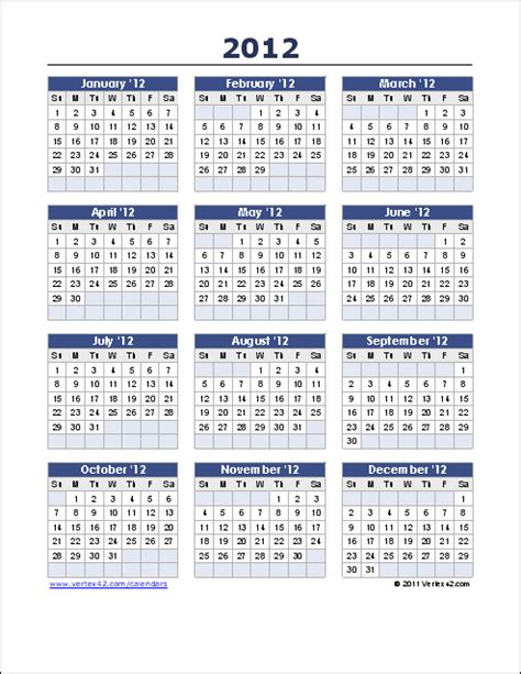 templates free 2012 yearly calendar template for 2017 and beyond