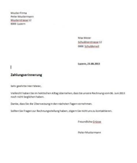 Mahnung Muster Per Email Mahnung Vorlage Schweiz Muster Vorlage Ch