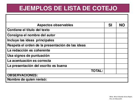 planeacion de segundo grado primaria lista de cotejo cuestionario r 250 brica o lista de cotejo