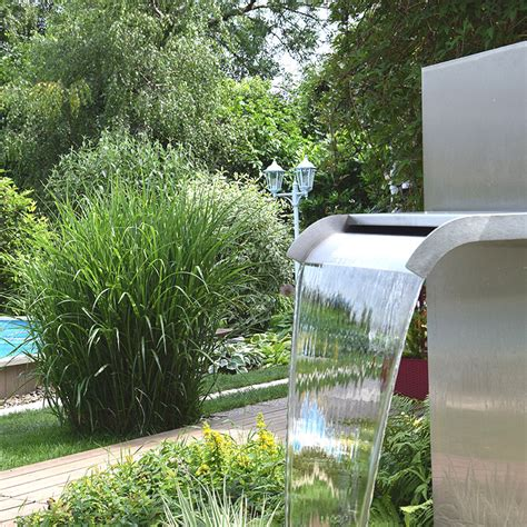 Wasserfall Garten Edelstahl
