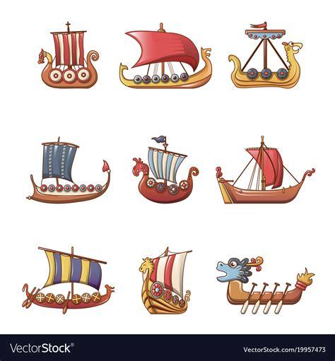 viking boats cartoon viking ship boat drakkar icons set cartoon style vector image