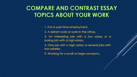 Comparison And Contrast Essay Ideas by Compare And Contrast Essay Topics
