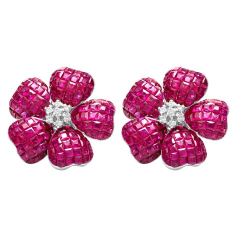 Flower Accent Earrings pink sapphire flower earrings with accents in