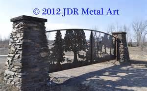 Decorative Wrought Iron Fence Panels Illinois Driveway Gates Plasma Cut Deer Scene By Jdr Metal
