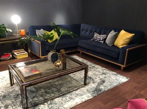 vintage style corner sofa the fifty nine corner sofa in matt velvet indigo on show