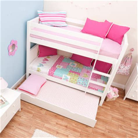 Small Bunk Beds Uk Buy Stompa Classic White Bunk Bed With Trundle Bed Bedstar Co Uk Bedstar